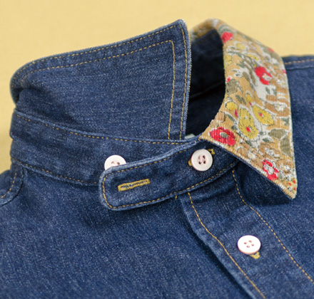 MAGIC NUMBER Holiday最新ITEM Stretch Denim Floral Pattern Collar Shirt
