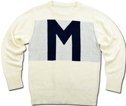 "MAGIC NUMBER Holiday最新ITEM 7G Cotton Blend School Knit ""M""Logo Sweater"
