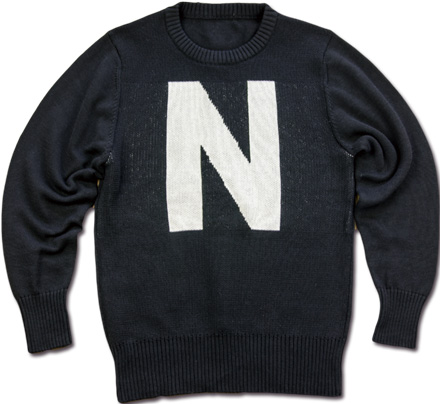 "MAGIC NUMBER Holiday最新ITEM 7G Cotton Blend School Knit ""N""Logo Sweater"