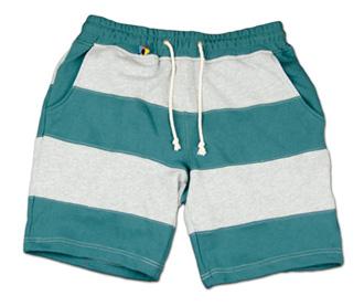 大胆な切替ボーダーのスウェットショーツ『Exchange Border Sweat Shorts』--『Blue. Vol.46』,『STANDARD with UNIQUE』記事掲載商品 #10_GRN_F