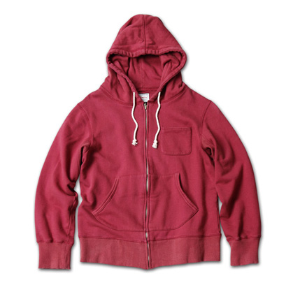 カラーリングが鮮やかなフーディ『Solid Zip-Up Sweat Hoodie Washed』MAGIC NUMBER 14SS最新ITEM_Burgandy