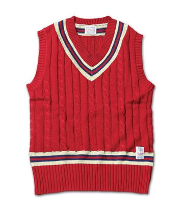トラディッショナルな雰囲気のニットベスト『Cable Knit Tilden Vest』MAGIC NUMBER 14SS最新ITEM_Burgandy