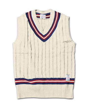 トラディッショナルな雰囲気のニットベスト『Cable Knit Tilden Vest』MAGIC NUMBER 14SS最新ITEM_Natural