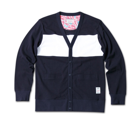 背当て部分が隠れたオシャレ『Exchange Panel Border Cardigan』 MAGIC NUMBER 14SS最新ITEM_NavyxWhite.jpg