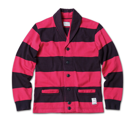 スポーティなボーダーカーデ『Heavyweight Cotton Jersey Border Cardigan』MAGIC NUMBER 14SS最新ITEM_NavyxBurgandy