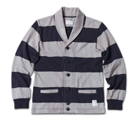 スポーティなボーダーカーデ『Heavyweight Cotton Jersey Border Cardigan』MAGIC NUMBER 14SS最新ITEM_NavyxGrey