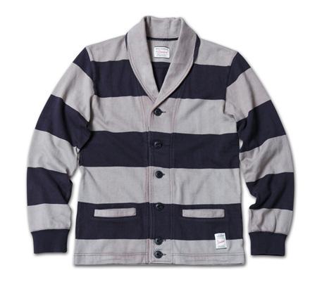 スポーティなボーダーカーデ『Heavyweight Cotton Jersey Border Cardigan』MAGIC NUMBER 14SS最新ITEM_NavyxGrey