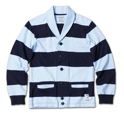 スポーティなボーダーカーデ『Heavyweight Cotton Jersey Border Cardigan』MAGIC NUMBER 14SS最新ITEM_NavyxSax