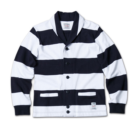 スポーティなボーダーカーデ『Heavyweight Cotton Jersey Border Cardigan』MAGIC NUMBER 14SS最新ITEM_NavyxWhite