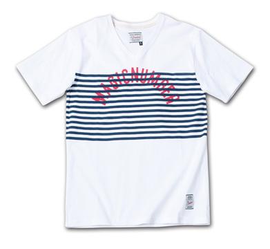 ボーダーとアーチロゴのVネック『 Border + Arch Logo V-Neck Tee』--2014/5/10発売『Blue.』6月号 掲載商品 #7_Navy