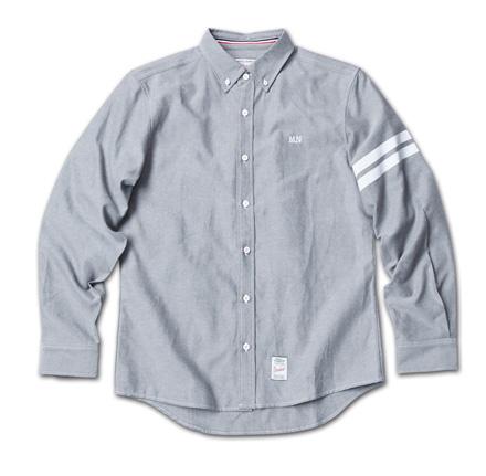 定番のオックスフォードシャツに左袖ストライププリント『Oxford Plain BD Shirt』MAGIC NUMBER 14SS最新ITEM_Black