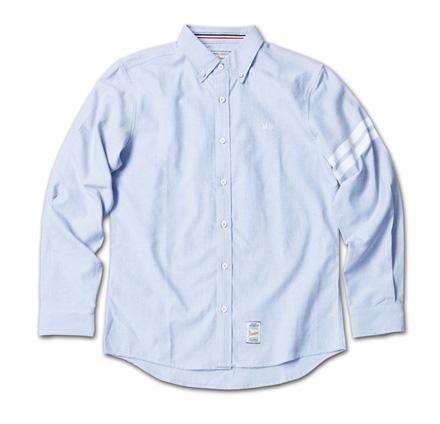 定番のオックスフォードシャツに左袖ストライププリント『Oxford Plain BD Shirt』MAGIC NUMBER 14SS最新ITEM_Blue