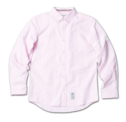 定番のオックスフォードシャツに左袖ストライププリント『Oxford Plain BD Shirt』MAGIC NUMBER 14SS最新ITEM_Pink