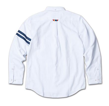 定番のオックスフォードシャツに左袖ストライププリント『Oxford Plain BD Shirt』MAGIC NUMBER 14SS最新ITEM_White