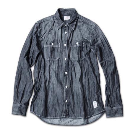 古着の様な風合いのデニムシャツ『Lt.oz Washed Denim Work Shirt』MAGIC NUMBER 14SS最新ITEM_Black
