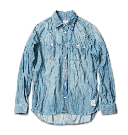 古着の様な風合いのデニムシャツ『Lt.oz Washed Denim Work Shirt』MAGIC NUMBER 14SS最新ITEM_Indigo
