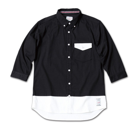 バイカラーの七分袖『Stretch Twill Bi-color 3/4 Sleeve Shirt』MAGIC NUMBER 14SS最新ITEM_Black