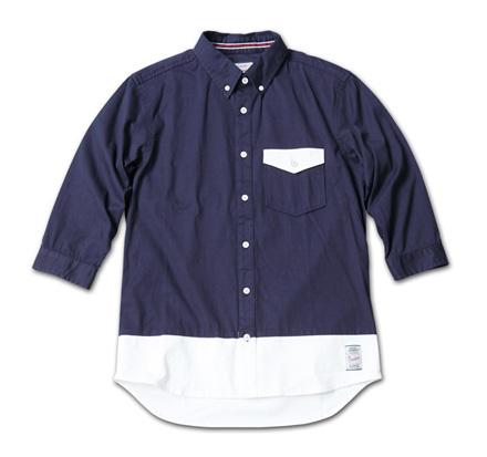 バイカラーの七分袖『Stretch Twill Bi-color 3/4 Sleeve Shirt』MAGIC NUMBER 14SS最新ITEM_Navy