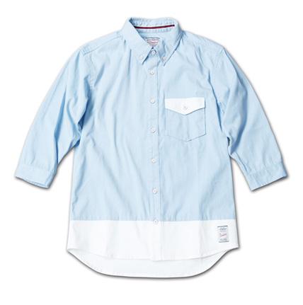 バイカラーの七分袖『Stretch Twill Bi-color 3/4 Sleeve Shirt』MAGIC NUMBER 14SS最新ITEM_Sax
