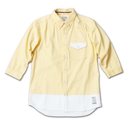 バイカラーの七分袖『Stretch Twill Bi-color 3/4 Sleeve Shirt』MAGIC NUMBER 14SS最新ITEM_Yellow