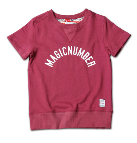 定番ロゴのスウェット、背当てがポイント『Arch Cracked Logo Sweat S/S Crew』MAGIC NUMBER 14SS最新ITEM_Burgandy