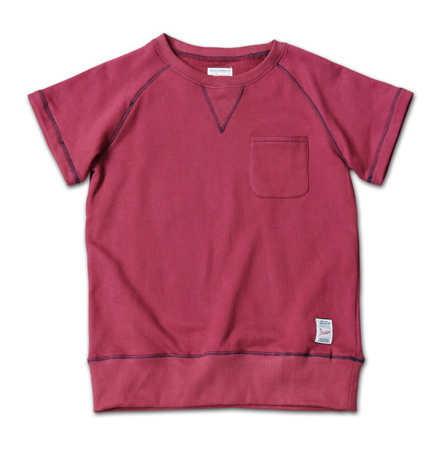 配色ステッチが際立つ半袖スウェット『Raglan Sleeve Sweat S/S Crew』MAGIC NUMBER 14SS最新ITEM_Burgandy