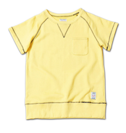 配色ステッチが際立つ半袖スウェット『Raglan Sleeve Sweat S/S Crew』MAGIC NUMBER 14SS最新ITEM_Yellow_F