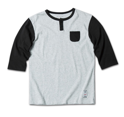 さりげないポケットがMNらしい七分袖『2tone Henry-Neck 3/4 Sleeve Tee』MAGIC NUMBER 14SS最新ITEM_HgreyxBlack