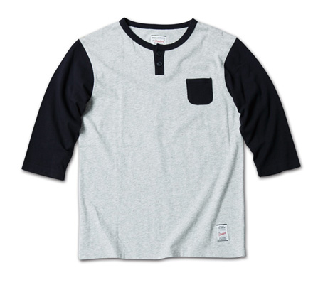 さりげないポケットがMNらしい七分袖『2tone Henry-Neck 3/4 Sleeve Tee』MAGIC NUMBER 14SS最新ITEM_HgreyxNavy