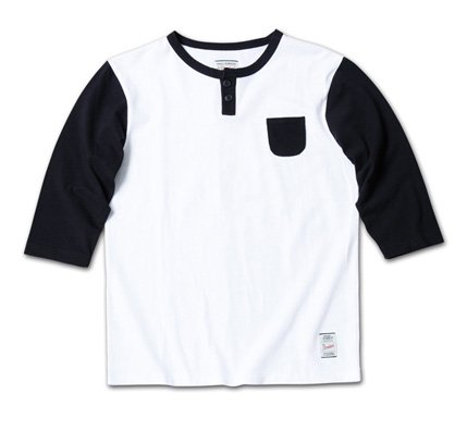 さりげないポケットがMNらしい七分袖『2tone Henry-Neck 3/4 Sleeve Tee』MAGIC NUMBER 14SS最新ITEM_WhitexNavy