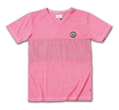 後染めバイカラーVネックT『2Tone Exchange Panel Border V-Neck Tee Garment Dye』--2014/5/10発売『Blue.』6月号 掲載商品 #5_Lt-bburgundy