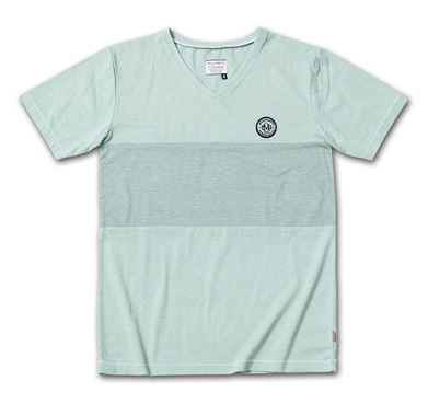 後染めバイカラーVネックT『2Tone Exchange Panel Border V-Neck Tee Garment Dye』--2014/5/10発売『Blue.』6月号 掲載商品 #5_Moss