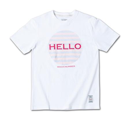 「HELLO」と裏側からのボーダープリントがポップでフレンドリーなT『Hello Print Tee』MAGIC NUMBER 14SS最新ITEM_PinkxOrange