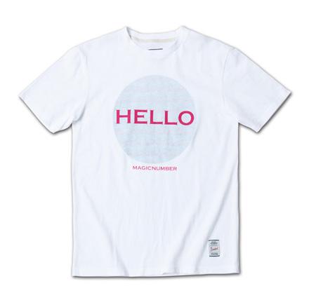 「HELLO」と裏側からのボーダープリントがポップでフレンドリーなT『Hello Print Tee』MAGIC NUMBER 14SS最新ITEM_PinkxTarq