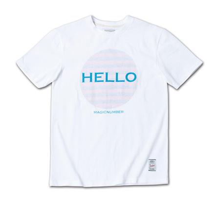 「HELLO」と裏側からのボーダープリントがポップでフレンドリーなT『Hello Print Tee』MAGIC NUMBER 14SS最新ITEM_TarqxPink