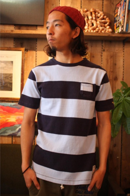 糸から仕立てた生地のボーダーポケT『Heavyweight Border Tiny Pocket Tee』MAGIC NUMBER 14SS最新ITEM_NavyxBurgandy