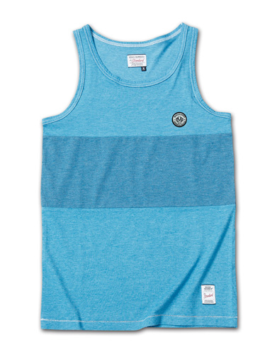 製品染めが独特な風合いを醸し出すタンク『2Tone Exchange Panel Border Tanktop Garment Dye』MAGIC NUMBER 14HS最新ITEM_Lt.navy