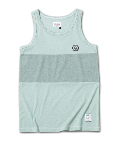 製品染めが独特な風合いを醸し出すタンク『2Tone Exchange Panel Border Tanktop Garment Dye』MAGIC NUMBER 14HS最新ITEM_moss