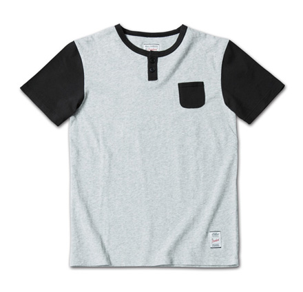 2トーンのシンプルなヘンリーネックT『2tone Henry-Neck Tee』MAGIC NUMBER 14SS最新ITEM_HgreyxBlack