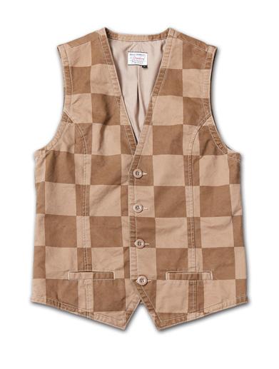 Tシャツとの組み合わせで映える、チェック柄のベスト『Cotton Twill Checker Pattern Vest Washed』MAGIC NUMBER 14HS最新ITEM_Beige