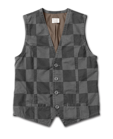Tシャツとの組み合わせで映える、チェック柄のベスト『Cotton Twill Checker Pattern Vest Washed』MAGIC NUMBER 14HS最新ITEM_Charcoal