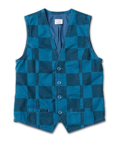 Tシャツとの組み合わせで映える、チェック柄のベスト『Cotton Twill Checker Pattern Vest Washed』MAGIC NUMBER 14HS最新ITEM_Navy