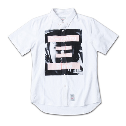 シャツの前面に大判のフォトプリント『Oxford Photo Print S/S BD White Shirt』MAGIC NUMBER 14SS最新ITEM_Pink