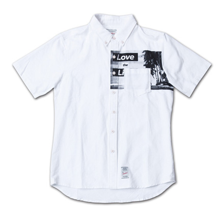 胸ポケット下にフォトプリント『Oxford Photo Print S/S BD Shirt』--『Blue. Vol.46』,『STANDARD with UNIQUE』記事掲載商品 #2_White