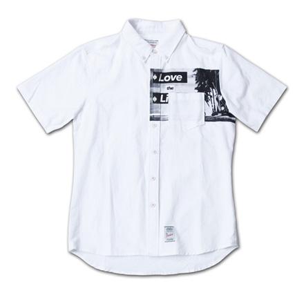 胸ポケット下にフォトプリント『Oxford Photo Print S/S BD Shirt』--『Blue. Vol.46』,『STANDARD with UNIQUE』記事掲載商品 #2_White