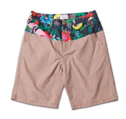 オリジナルファブリック切替のショーツ『Original Pattern x Solid Color Shorts』MAGIC NUMBER 14SS最新ITEM_Beige_F