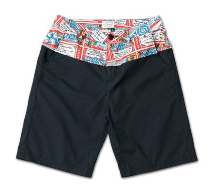 オリジナルファブリック切替のショーツ『Original Pattern x Solid Color Shorts』MAGIC NUMBER 14SS最新ITEM_Black