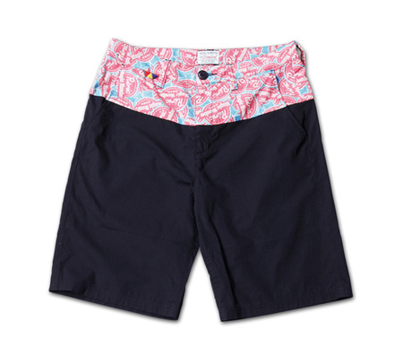 オリジナルファブリック切替のショーツ『Original Pattern x Solid Color Shorts』MAGIC NUMBER 14SS最新ITEM_Navy