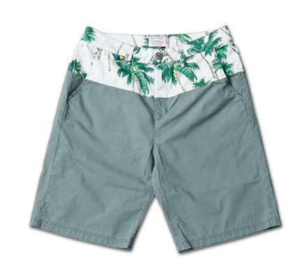 オリジナルファブリック切替のショーツ『Original Pattern x Solid Color Shorts』MAGIC NUMBER 14SS最新ITEM_Olive
