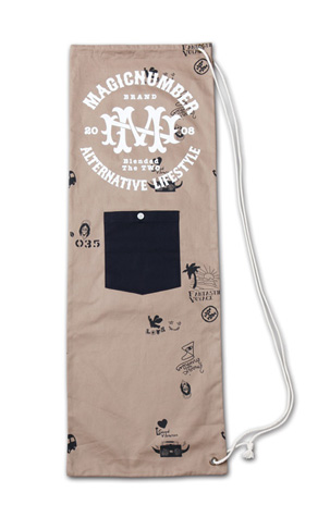 スケボーサイズの縦長巾着『Cotton Twill Skateboard Case』MAGIC NUMBER 14SS最新ITEM_Beige